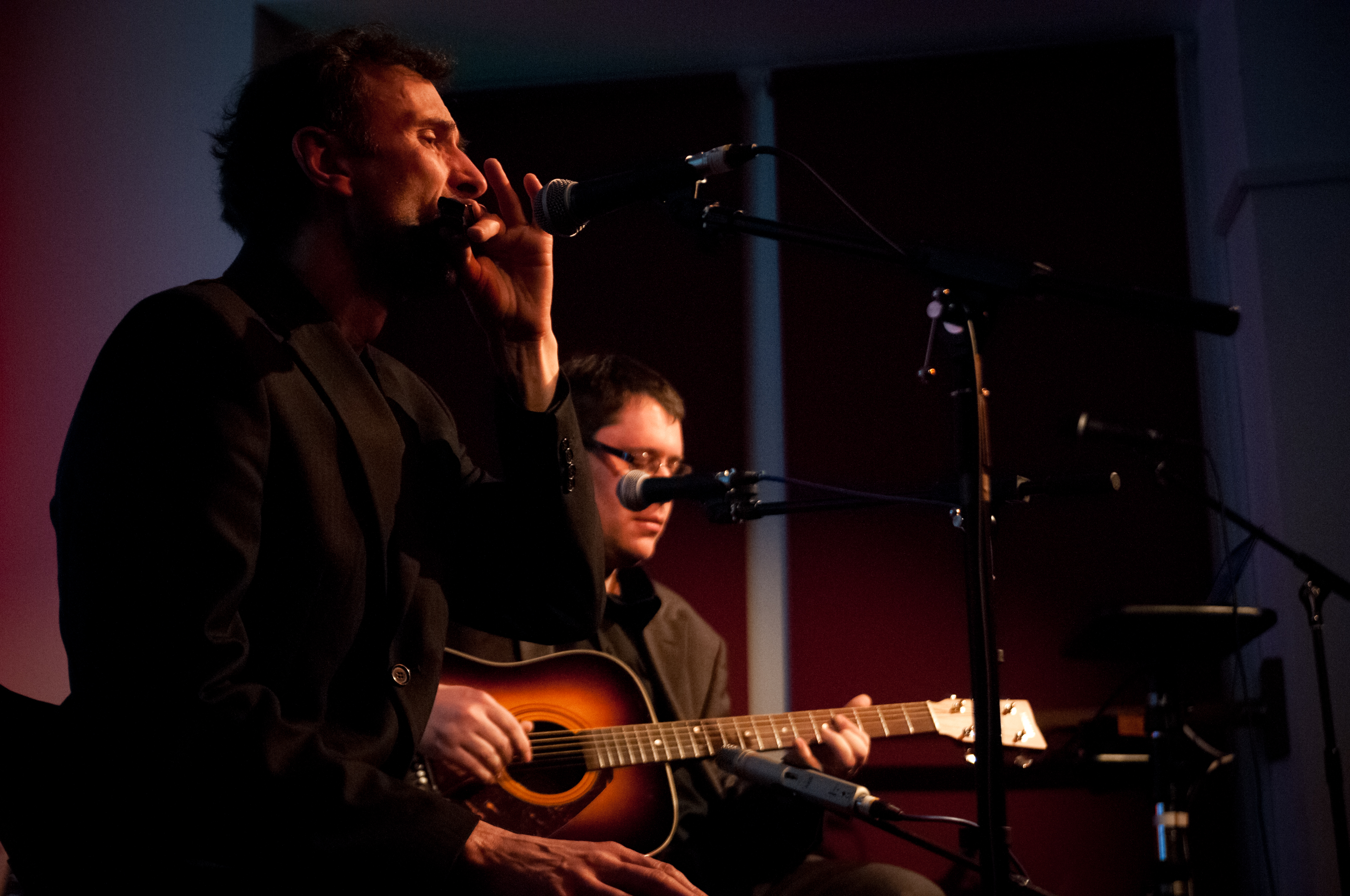 Blue John and Papa Cass performing at the Institute, Laxey