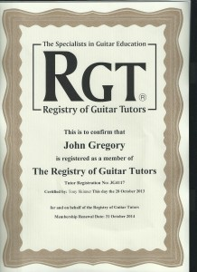 registry of guitar tutors certificate